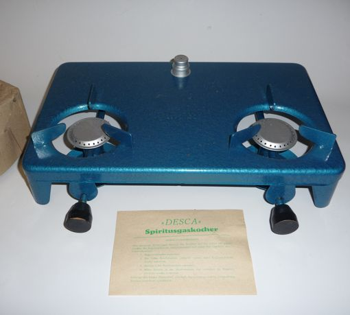 DDR Ostalgie DESCA doppel Campingkocher Spiritus|gas|kocher blau