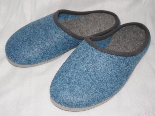Elster-Pantoffel Hausschuhe Filzpantoffeln blau mit Porosohle